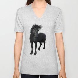 Gothic Friesian Horse Unisex V-Neck
