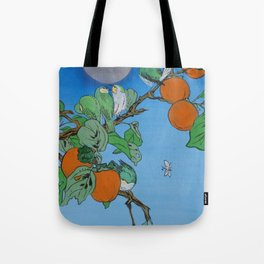 Persimmon branch moon and birds Japan Hieroglyph original artwork in japanese style J099  painting w Tote Bag