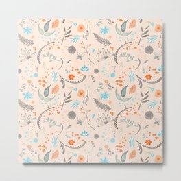 Floral Pattern with Flowers and Leaves Metal Print
