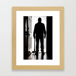Bad Man at door in silhouette with axe Framed Art Print