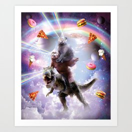 Laser Eyes Space Cat On Sloth Dinosaur - Rainbow Art Print