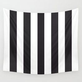Raisin black - solid color - white vertical lines pattern Wall Tapestry