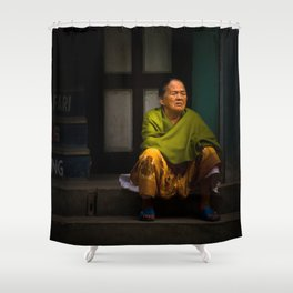Buddhist woman of Kathmandu, Nepal Shower Curtain
