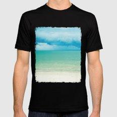 Blue Turquoise Tropical Sandy Beach Mens Fitted Tee MEDIUM Black