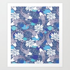 Blue Koi Ripples Art Print
