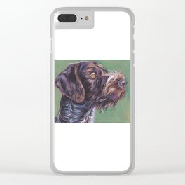 German Wirehaired Pointer dog art portrait from an original painting by L.A.Shepard Clear iPhone Case