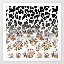 Abstract black white brown floral animal print Art Print