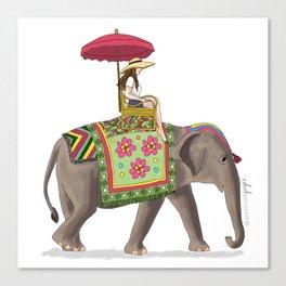 Woman on Elephant Canvas Print
