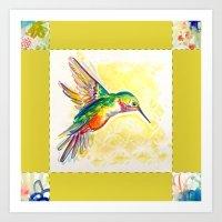 Gold Jewel Box Hummingbird Art Print