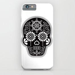 Día de Muertos Calavera • Mexican Sugar Skull – Black Palette iPhone Case