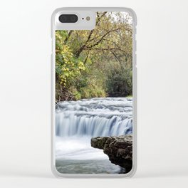 Briggs Woods Lower Waterfall in Autumn Clear iPhone Case