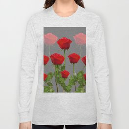 ORIGINAL GARDEN DESIGN OF RED ROSES ON GREY Long Sleeve T-shirt