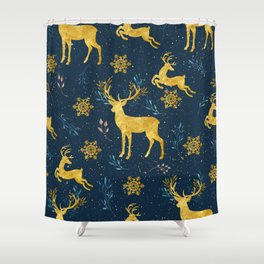 Golden Reindeer Shower Curtain