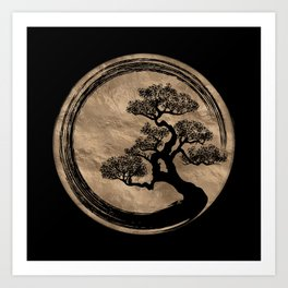 Enso Zen Circle and Bonsai Tree Gold Art Print