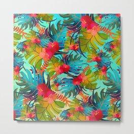 Bright Tropical Floral Pattern B Metal Print