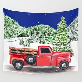 Old Red Farm Truck Winter Wall Tapestry