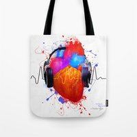springsteen Tote Bags featuring No Music - No Life by Sitchko Igor