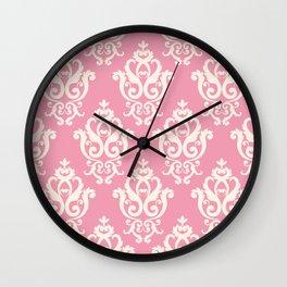 Romantic Pink and White Damask Pattern Wall Clock