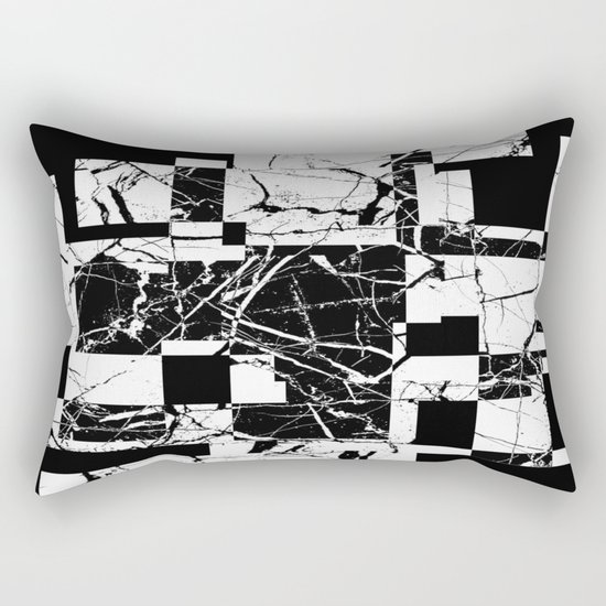 Manipulated Marble - Black and white, abstract, geometric, marble style art Rectangular Pillow