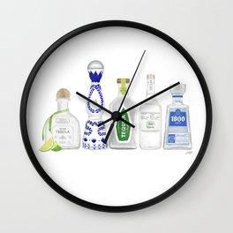 Tequila Bottles Illustration Wall Clock