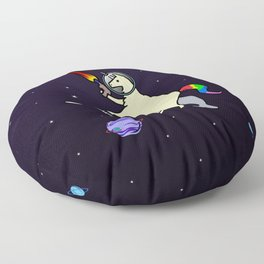 Llamacorn Riding Narwhal In Space Floor Pillow