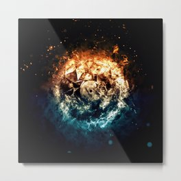 Burning Circle - Fire and Ice - Isolated Metal Print