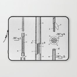 Pool Cue Patent - 9 Ball Art - Black And White Laptop Sleeve
