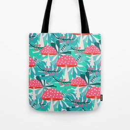 Cheerful mushrooms and flowers Tote Bag