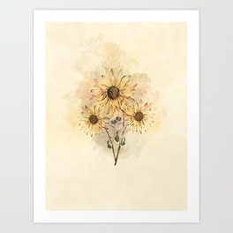 Sunflower Bouquet #floral #watercolor #society6 Art Print