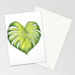 Two monstera leaves in watercolor Stationery Cards