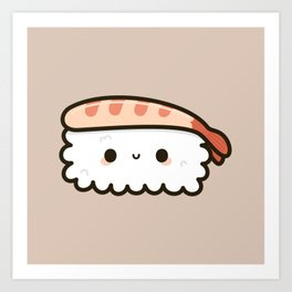 Cute prawn sushi Art Print
