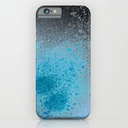 Blue and Black Spray Paint Splatter iPhone Case