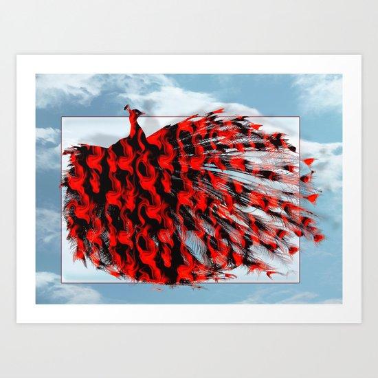 Red Peacock Art Print