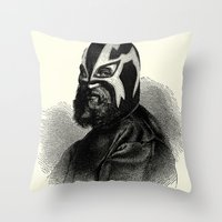 wrestling Throw Pillows featuring WRESTLING MASK 9 by DIVIDUS