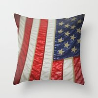 american flag Throw Pillows featuring American Flag by alltheprettythings
