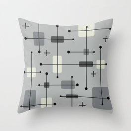 Rounded Rectangles Squares Gray Throw Pillow