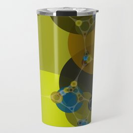 billie -vivid abstract design yellow blue brown chartreuse green Travel Mug