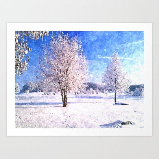 Winter in the Bavarian landscape in Watercolor-Art Art Print