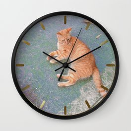Cat Lounging Wall Clock