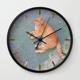 Cat Lounging Wall Clock