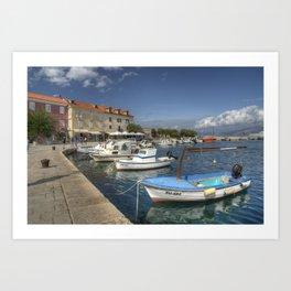 Supetar Boat reflections Art Print