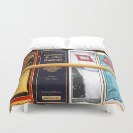 Original Early 1900s American Train Time Tables (RARE) Duvet Cover