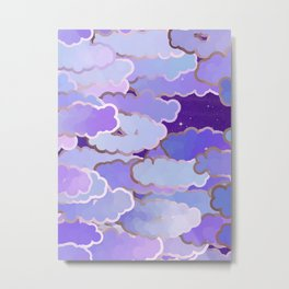 Japanese Clouds, Twilight, Violet and Deep Purple Metal Print