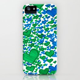 Love Collides - Blue & Green Hearts iPhone Case