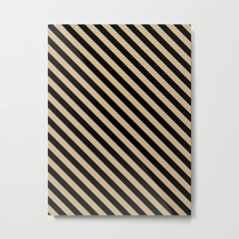 Tan Brown and Black Diagonal LTR Stripes Metal Print