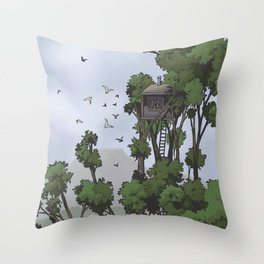 TreeHouse in the Sky Throw Pillow