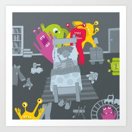kid and ghosts Art Print
