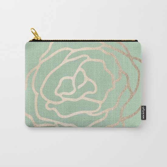 Rose White Gold Sands on Pastel Cactus Green Carry-All Pouch