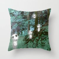 kodama Throw Pillows featuring Kodama in the woods by pkarnold + The Cult Print Shop