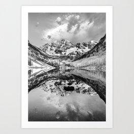 Contrasting Reflections - Maroon Bells Mountains - Aspen Colorado Art Print